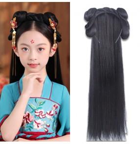 Girls kids Chinese Hanfu fairy dress cosplay Wig Hair Band Ancient Ming han Tang princess empress cosplay hair hoop wig one-piece hair bun for girl