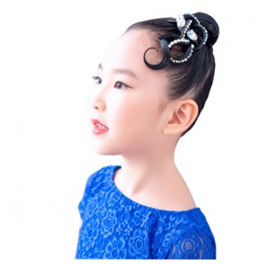 Girls kids competition latin ballrom dance hair bangs hair accessories performance dance headdress