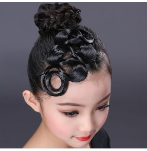Girls kids competition latin ballrom dance hair bangs stage performance headdress hair accessories