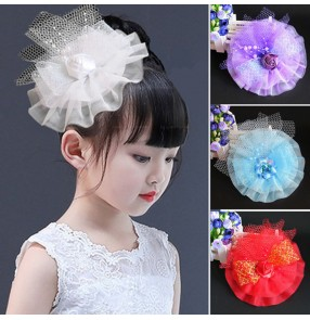 Girls kids flower girls stage performance head flowers singers host chorus evening party photos cosplay headdress