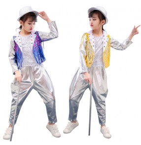 Girls kids gold blue sequins jazz dance costumes hiphop street dance outfits singers model school stage performance tops and pants