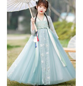 Girls kids Green color Chinese hanfu fairy princess cosplay blossom dress photos shooting model show Ancient Traditional guzheng Tang suit for girl