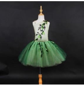 Girls kids green fairy modern dance ballet dance dresses tutu skirt ballet dance costumes