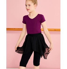girls Kids gymnastics practice clothes ballet Latin dance aerobics short-sleeved tops chiffon split skirt pants costumes