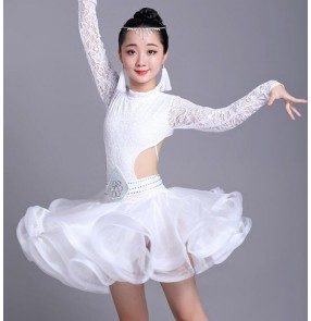 Girls kids lace latin dance dresses children modern dance salsa rumba chacha dance dress costumes