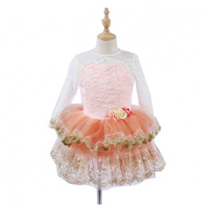Girls kids lace long sleeves ballet dance dresses stage performance tutu skirt ballet dance costumes