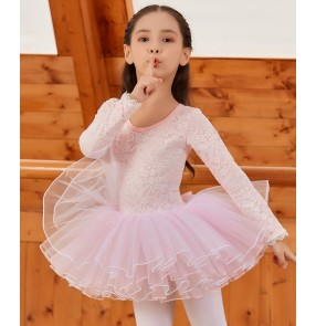 Girls kids lace long sleeves pink tutu skirts ballet dance dresses for children stage performance light yellow ballet dance skirts ballet dance costumes
