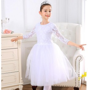Girls kids lace red white pink colored modern dance ballet dance dresses