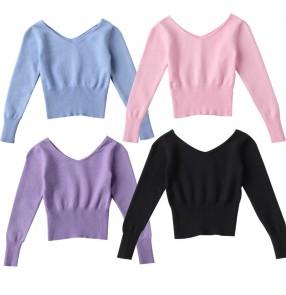 Girls kids latin ballet modern Dance sweater tops fall winter ballet gymnastics training clothes out coat cotton soft girls modern dance dress shawl jacket