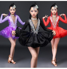 Girls kids latin dance dresses kids children bling rhinestones ballroom salsa rumba chacha latin dance skirts costumes