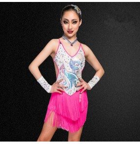 Girls kids latin dance dresses tassels rhinestones rumba salsa chacha modern dance dresses costumes