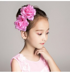 Girls kids latin stage performance rose headdress model host singers stage performance hair accessories head flowers one piece