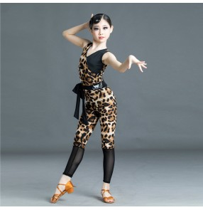 Girls kids leopard latin dance dress stage performance blue purple leopard latin dance costumes for children