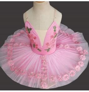 Girls kids light pink ballet dance dress tutu skirt stage performance ballerina dresses classical pancake pettiskirts ballet dance costumes for children