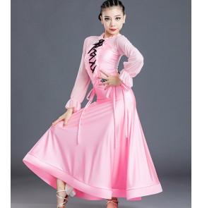 Girls kids light pink ballroom dance dresses stage performance tango waltz dance dress for kids leotard top and skirts