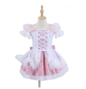 Girls kids light pink with white carnival party ballet dance dresses stage performance princess ballet dress