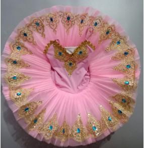 Girls kids little swan lake ballet dance dress ballerina children tutu skirts classical pancake ballet dance dress
