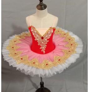 Girls kids little swan lake ballet dance dress classical ballerina stage perperformance tutu skirt ballet dresses