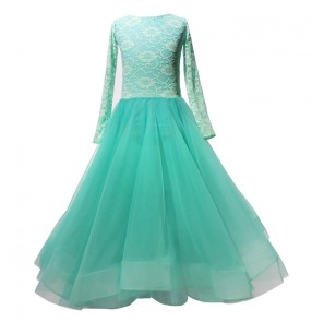 Girls kids mint lace long length ballroom dancing dresses competition stage performance waltz tango dance dress