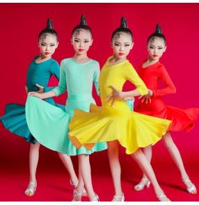 Girls kids mint yellow dark green competition latin dance dresses stage performance latin dance ballroom dance dress for children