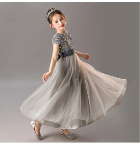 Girls kids model show silver color pianist stage performance long dresses birthday party gift dresses flower girls photos shooting dresses for children