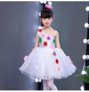 Girls kids modern dance ballet dresses children singers host stage performance chorus flower girls princess dress