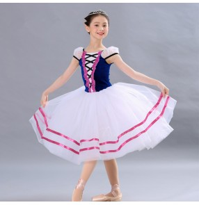 Girls kids modern dance ballet dresses stage performance professional tutu skirts show performance princess dress