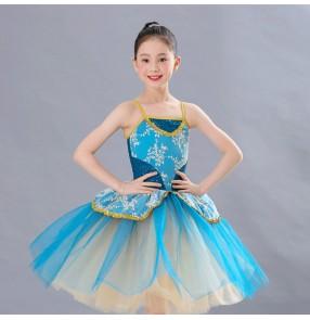 Girls kids modern dance ballet dresses turquoise tutu skirts stage performance professional ballet dress