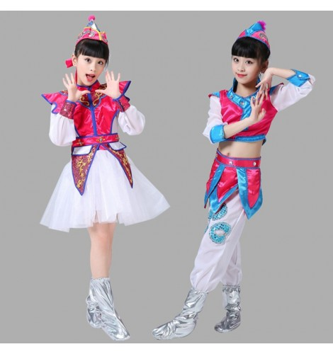 1b4296f72 Girls kids Mongolian costumes children chinese folk dance costumes stage  performance drama cosplay clothes dresses