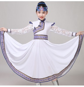 Girls kids Mongolian costumes Chinese folk dance children white blue international Mongolian drama stage performance robes dresses
