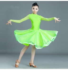 Girls kids neon green yellow latin dance dresses children salsa rumba chacha dance dress costumes