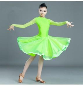 Girls kids neon green yellow latin dance dresses children salsa rumba chacha dance dress costumes