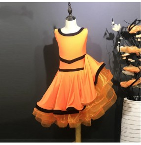 Girls kids orange colored latin dance dresses sleeveless Latin dance costumes for performances and competition costumes with big skirts