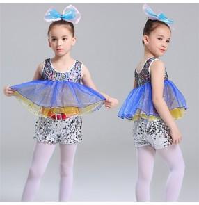 Girls kids paillette modern jazz dance costumes kindergarten kids cosplay ballet stage show performance dresses