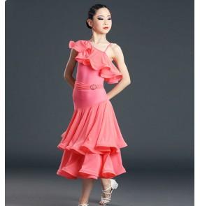 Girls kids pink ballroom dance dresses one inclined shoulder competition skirt Ballroom dance dress waltz big split skirt