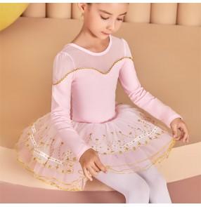Girls kids pink black white tutu skirt ballet dance dresses modern birthday gift ballerina stage performance ballet dance costumes