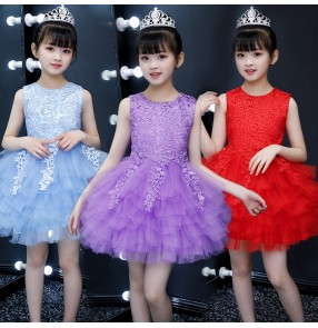 Girls kids pink blue white princess dress lace flower girls host singers performance dress party model show dress for children