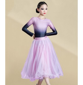 Girls kids pink gradient ballroom dance dresses children long sleeves stage performance ballroom dance skirts waltz tango dance dress for children