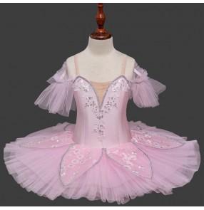 Girls kids pink petals swan lake ballet dance dresses kids children tutu skirts classical pancake stage performance ballet dress