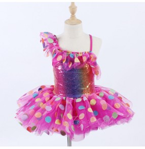 Girls kids pink rainbow dot jazz ballet dance dresses stage performance ballet dance tutu skirts dress