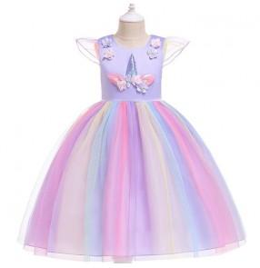 Girls kids princess dress Video performance party cosplay fairy dresses