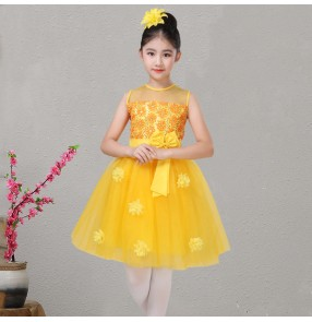 275884023dd9 Girls kids princess modern dance dress kids children rose flower girls stage  performance chorus singer dance