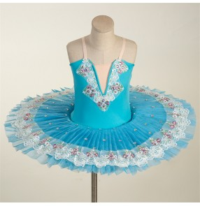 Girls kids professional white tutu skirt little swan lake ballet dance dress bellerina pancake skirt stage performance ballet dance costumes