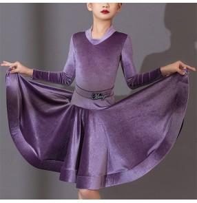 Girls kids purple black red velvet competition ballroom latin dance dress standard professional latin dance costumes for girl