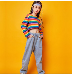 Girls kids rainbow colored fashion hiphop street dance costumes cheerleaders rap gogo dancers stage performance shirts and pants