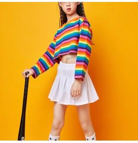 Girls kids rainbow colored hiphop dance costumes cheerleaders costumes gogo dancers rap street dance stage performance costumes