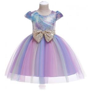 Girls kids rainbow princess dress video photos performance dress singers chorus party cosplay fairy dresses