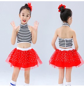 Girls kids red striped jazz dance costumes modern dance dress princes chorus stage performance model show performance costumes