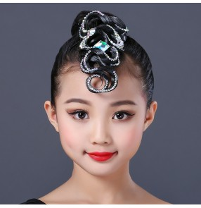 Girls kids rhinestones hair bangs for latin ballroom competition dance hair accessories wig