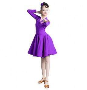 Girls kids royal blue mint pink latin ballroom dance dresses children purple latin dance costumes